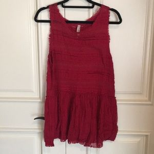 [LIKE NEW] Free People: Red Sheer Lace Tunic